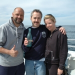 017 Joe Porter of Wreck Diving Magazine with one of the Peconic Bottles