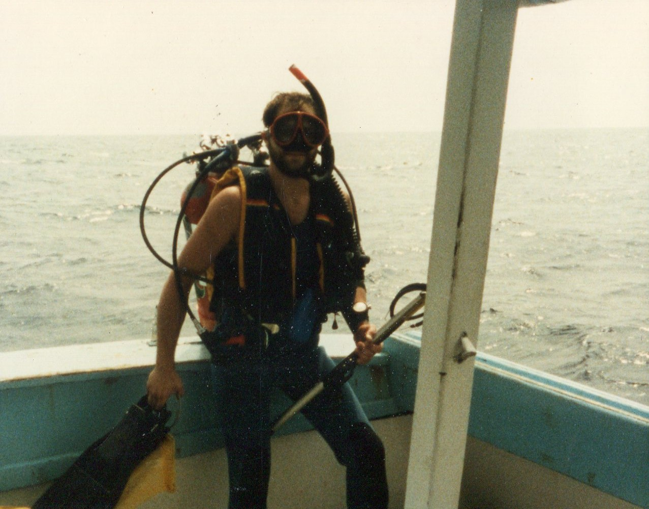 1982 spearfishing with Olympus dive charters in NC.