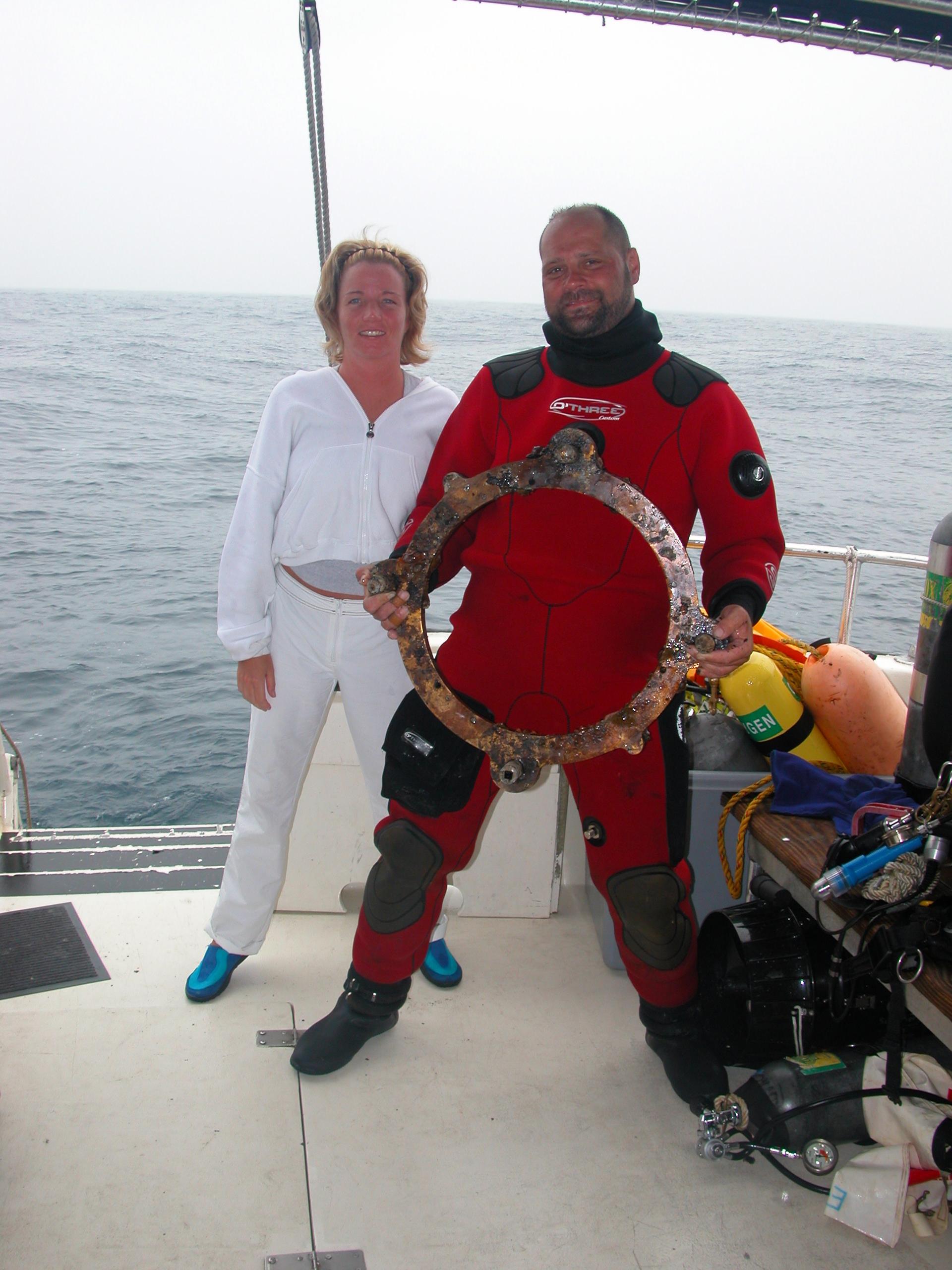 2003 Andrea Doria Porthole and Carrie's 1st DOria dive on EAGLES NEST.jpg
