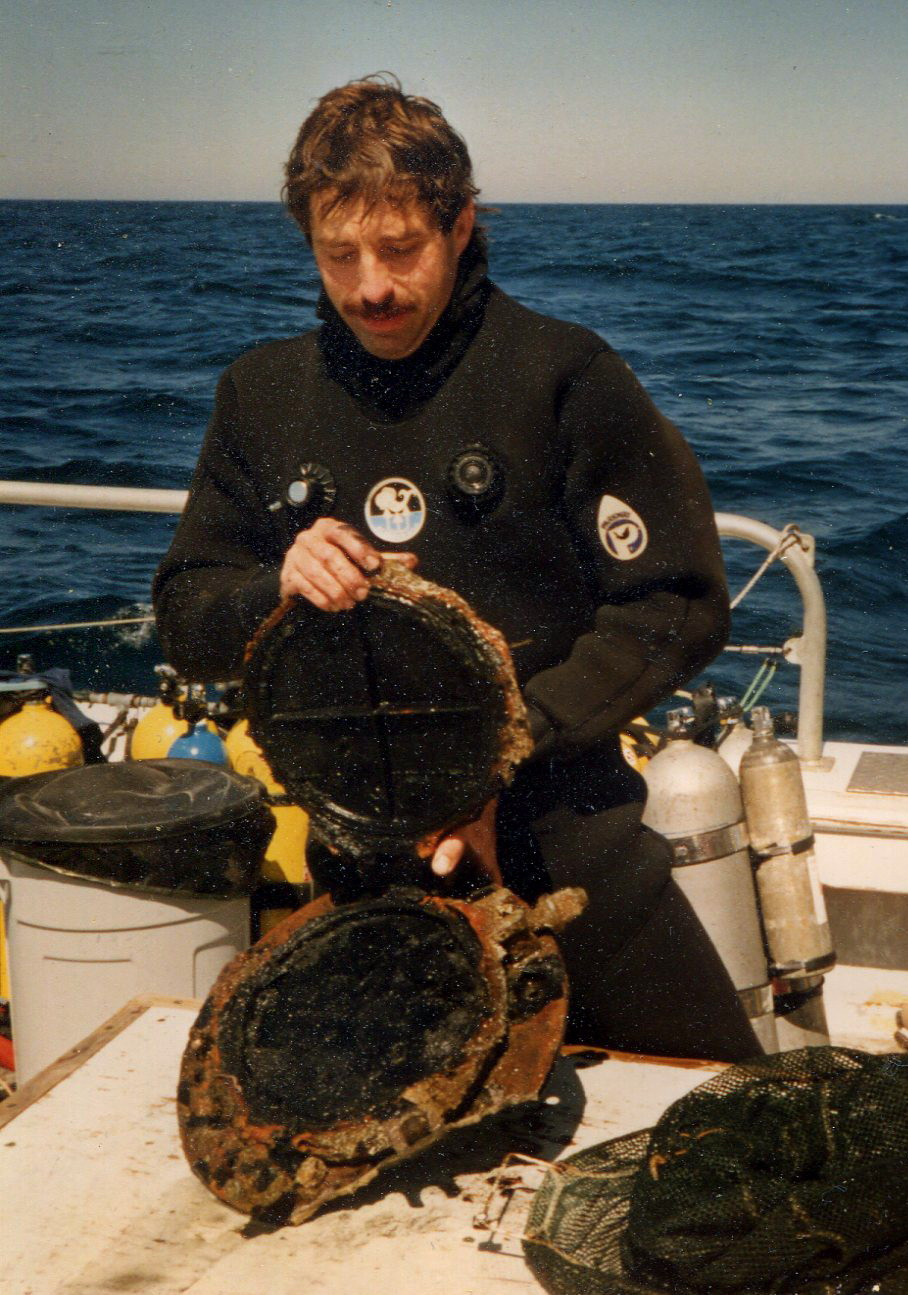 AWD Jeff Pagano with porthole from the SS Durley Chine