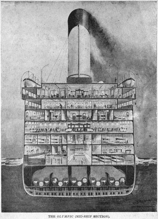 Titanic 027 a section cutaway showing how the double bottom fits in.