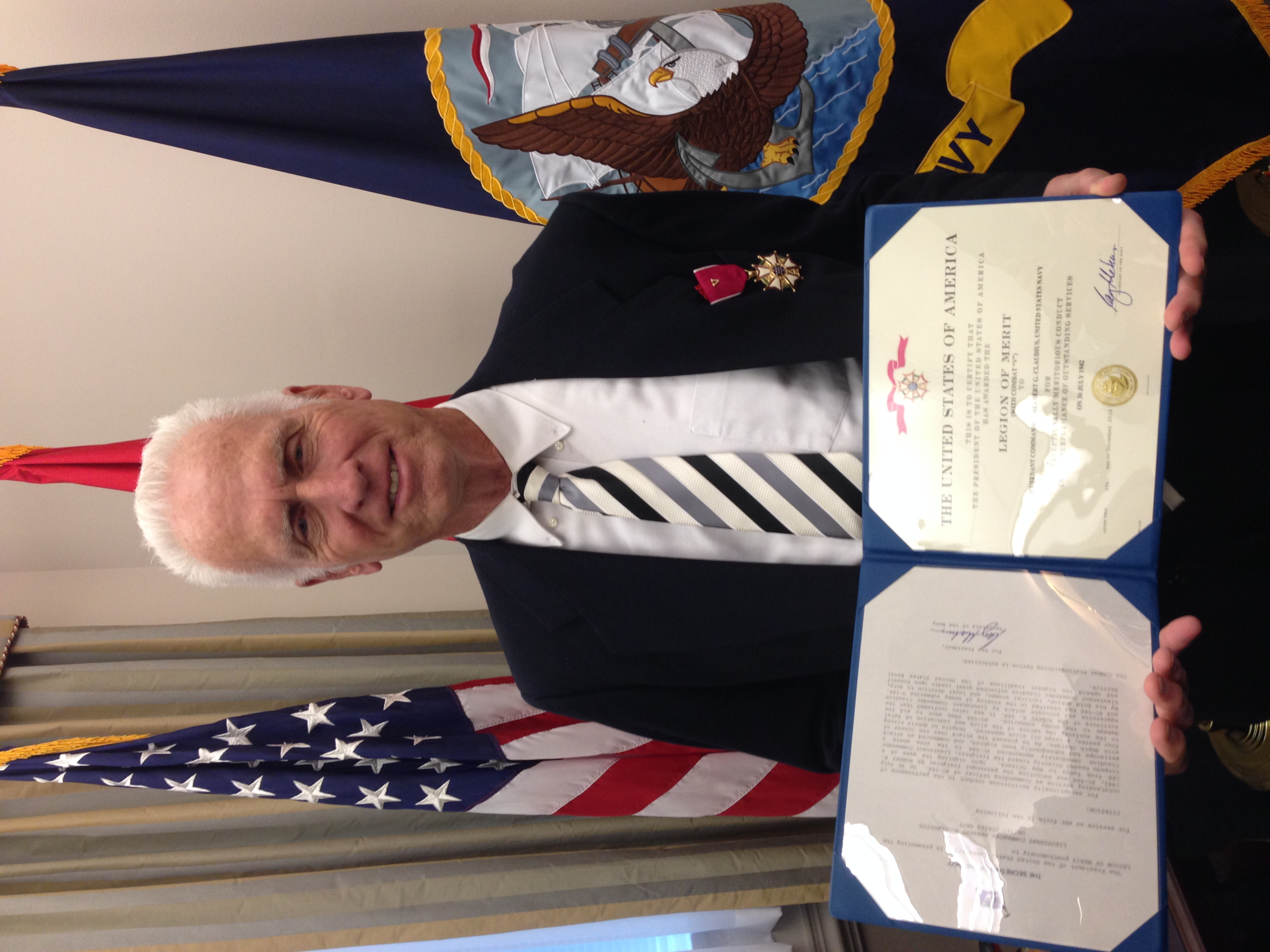 Gordon Claudius with Legion of Merit for Valor, medal, award and citation.