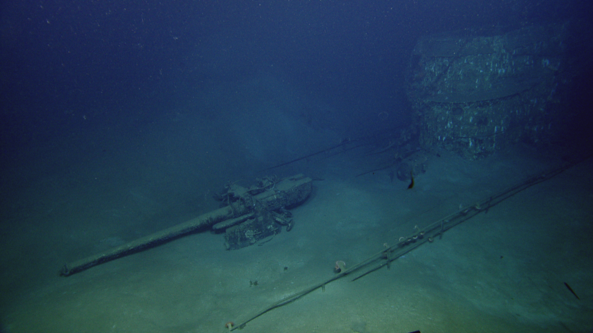 U-166 a ghostly image of the forward deck gun and conning tower